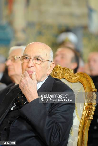President of Italian Republic Giorgio Napolitano attends a ceremony for the Iternational Holocaust Remembrance Day at Quirinale on January 27 2011 in...
