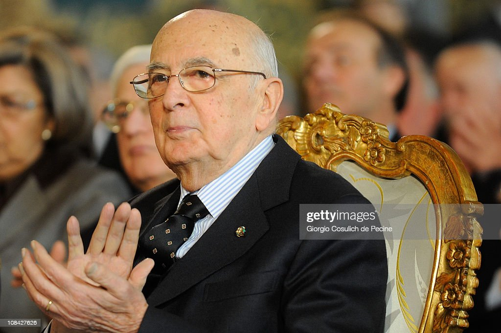 President of Italian Republic, <a gi-track='captionPersonalityLinkClicked' href=/galleries/search?phrase=Giorgio+Napolitano&family=editorial&specificpeople=568986 ng-click='$event.stopPropagation()'>Giorgio Napolitano</a>, cheers during a ceremony for the Iternational Holocaust Remembrance Day at Quirinale on January 27, 2011 in Rome, Italy. Remembrance Day, established in 2000 with a law of the Italian Parliament, was created as a day commemorating the victims of Nazism and fascism, of the Holocaust and in honor of those who have risked their lives to protect the persecuted.