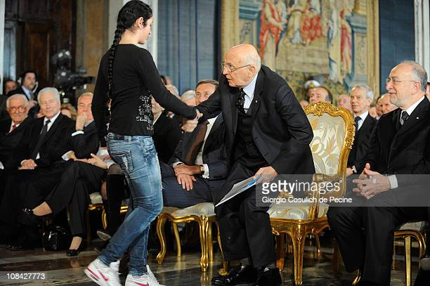 President of Italian Republic Giorgio Napolitano shakes hand to an Italian student during a ceremony for the Iternational Holocaust Remembrance Day...