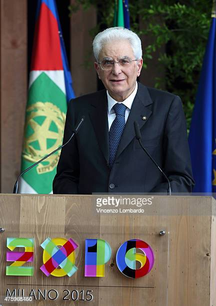 President of Italian Republic Sergio Mattarella during his official visit at Expo 2015 on June 5 2015 in Milan Italy