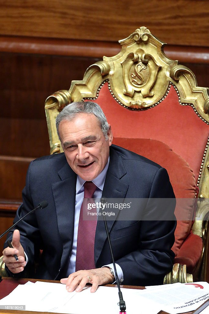 President of Italian Senate Pietro Grasso attends the confidence vote at the Senate on April 30, 2013 in Rome, Italy. The new coalition government was formed through extensive cooperation agreements between the right and left coalitions after a two-month long post-election deadlock.