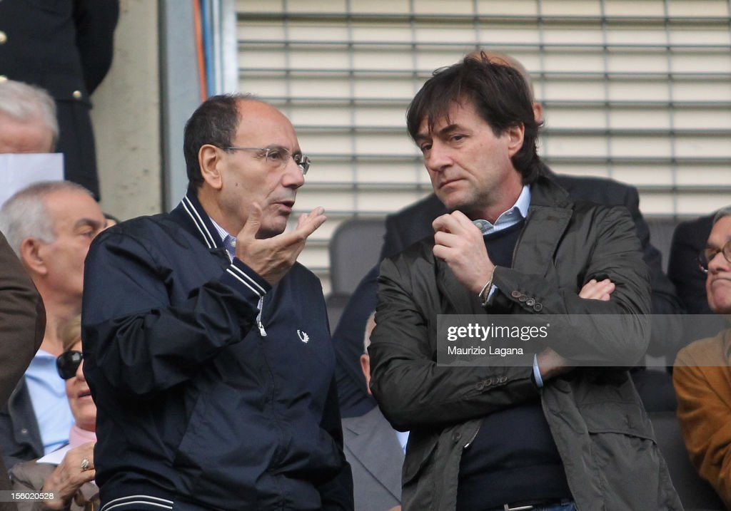 President of Italian Senate <a gi-track='captionPersonalityLinkClicked' href=/galleries/search?phrase=Renato+Schifani&family=editorial&specificpeople=4851265 ng-click='$event.stopPropagation()'>Renato Schifani</a> (L) during the Serie A match between US Citta di Palermo and UC Sampdoria at Stadio Renzo Barbera on November 11, 2012 in Palermo, Italy.