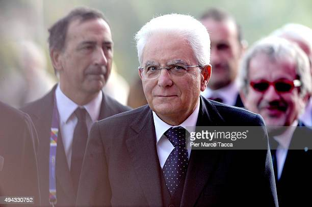 President of Italy Sergio Mattarella arrives to Assolombarda general assembly to the Expo 2015 on October 26 2015 in Milan Italy Members of...