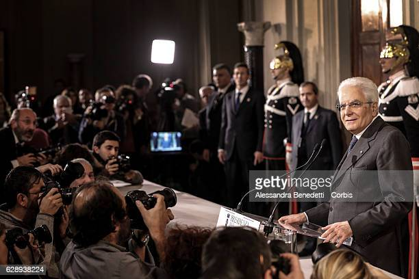 President of Italy Sergio Mattarella speaks to media at the end of consultations with Italian Parties at Palazzo del Quirinale on December 10 2016 in...