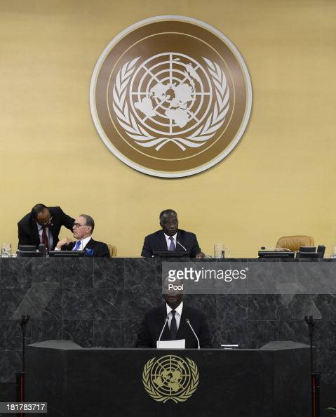 President of Ivory Coast Alassane Ouattara speaks during the 68th Session of the United Nations General Assembly on September 25 2013 in New York...