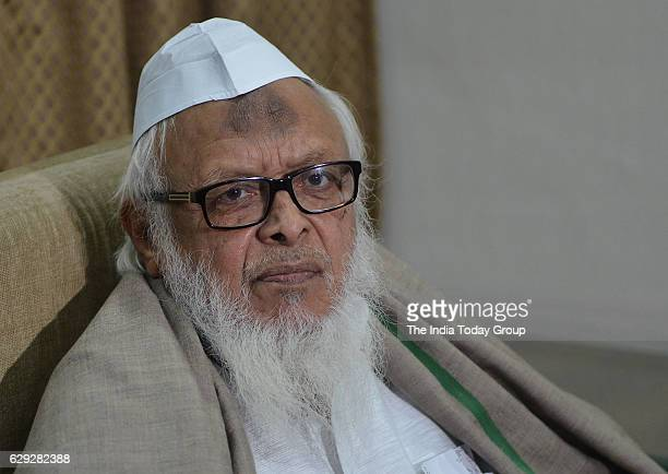 President of Jamiat UlemaeHind Maulana Syed Arshad Madani during a Press Conference on Triple Talaq Issue in New Delhi