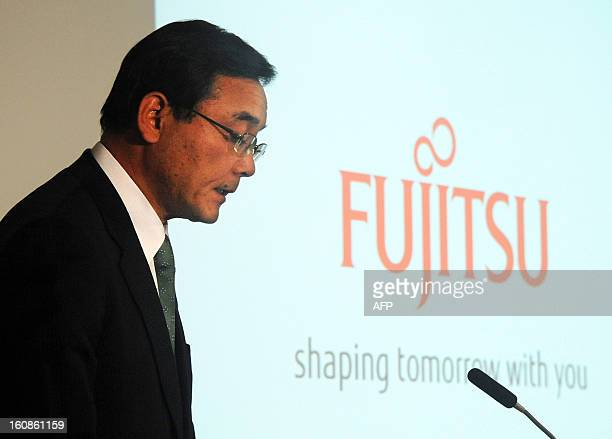 President of Japan's computer maker Fujitsu Masami Yamamoto speaks as the company announces its third quarter financial results ending December at...