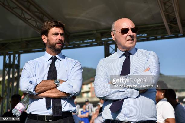 President of Juvents Andrea Agnelli and CEO of Juventus Giuseppe Marotta look on during the preseason friendly match between Juventus A and Juventus...