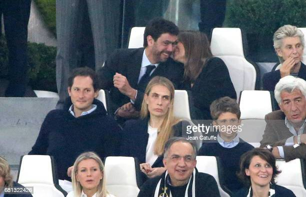 President of Juventus Andrea Agnelli and Deniz Akalin below Chairman of Fiat John Elkann and his wife Lavinia Borromeo attend the UEFA Champions...