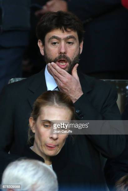 President of Juventus Andrea Agnelli and Lavinia Borromeo wife of President of Fiat Group John Elkann attend the UEFA Champions League semi final...