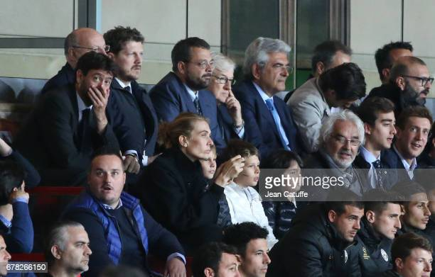 President of Juventus Andrea Agnelli below him Lavinia Borromeo wife of John Elkann President of FIAT group Flavio Briatore during the UEFA Champions...