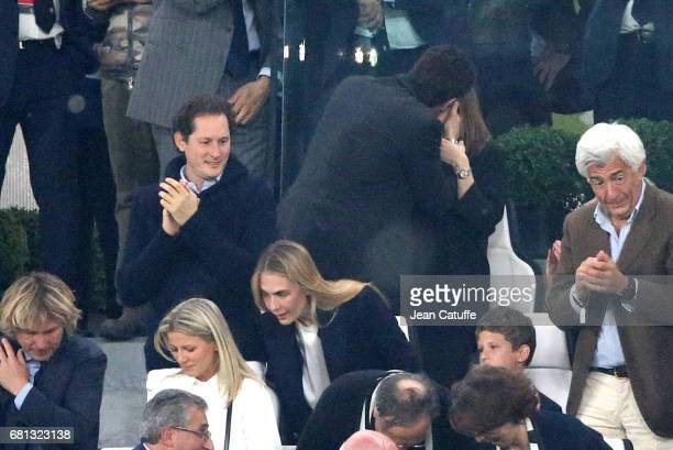President of Juventus Andrea Agnelli celebrates a goal by kissing Deniz Akalin below Chairman of Fiat John Elkann and his wife Lavinia Borromeo...