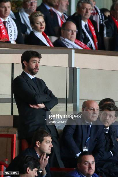 President of Juventus Andrea Agnelli CEO of Juventus Giuseppe Marotta above them Prince Albert II of Monaco and Princess Charlene of Monaco attend...