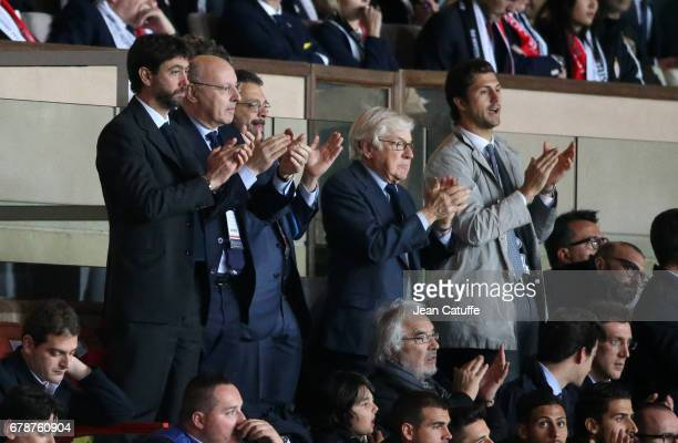 President of Juventus Andrea Agnelli CEO of Juventus Giuseppe Marotta attend the UEFA Champions League semi final first leg match between AS Monaco...