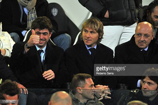 President of Juventus Andrea Agnelli Pavel Nedved and Giuseppe Marotta look on during the Serie A match between AC Cesena and Juventus FC at Dino...