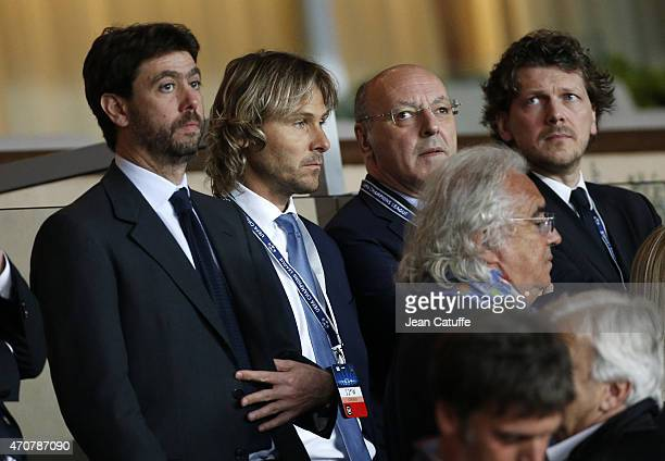 President of Juventus Andrea Agnelli Pavel Nedved and Juventus General Director Giuseppe Marotta attend the UEFA Champions League Quarter Final...