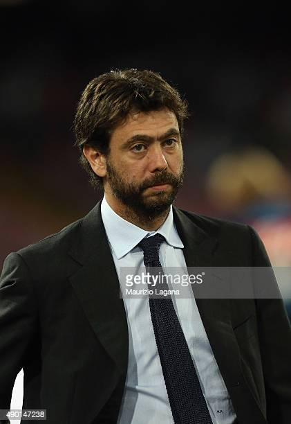 President of Juventus Andrea Agnelli prior the Serie A match between SSC Napoli and Juventus FC at Stadio San Paolo on September 26 2015 in Naples...