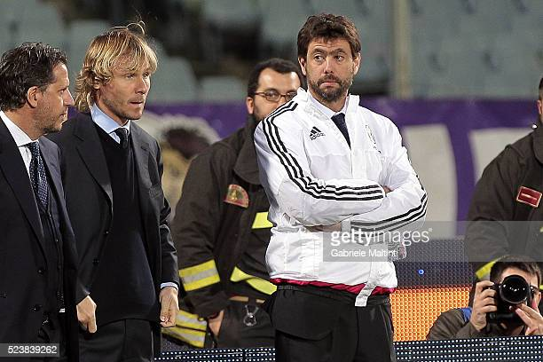 President of Juvewntus FC Andrea Agnelli looks on during the Serie A match between ACF Fiorentina and Juventus FC at Stadio Artemio Franchi on April...