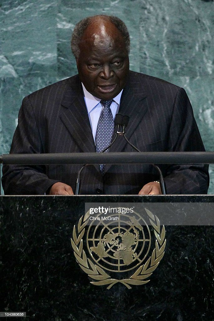 President of Kenya, <a gi-track='captionPersonalityLinkClicked' href=/galleries/search?phrase=Mwai+Kibaki&family=editorial&specificpeople=274745 ng-click='$event.stopPropagation()'>Mwai Kibaki</a> addresses the 65th session of the General Assembly at the United Nations on September 23, 2010 in New York City. Leaders and diplomats from around the world are in New York City for the United Nations yearly General Assembly.