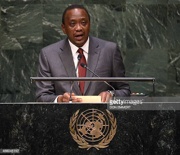 President of Kenya Uhuru Kenyatta addresses the 69th session of the United Nations General Assembly September 24 2014 at the United Nations in New...