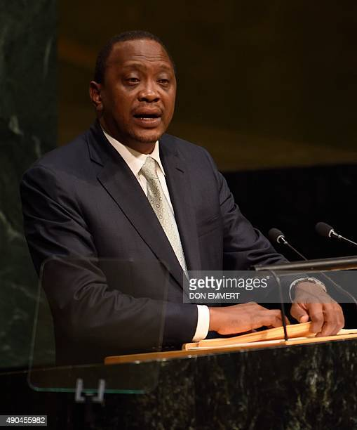 President of Kenya Uhuru Kenyatta addresses the 70th session of the United Nations General Assembly September 28 2015 at the United Nations in New...