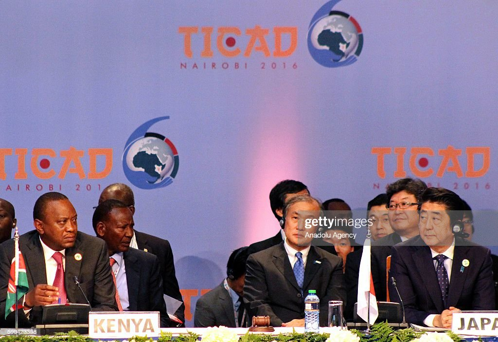 President of Kenya Uhuru Kenyatta and Japanese Prime Minister Shinzo Abe attend the sixth Tokyo International Conference on African Development at...