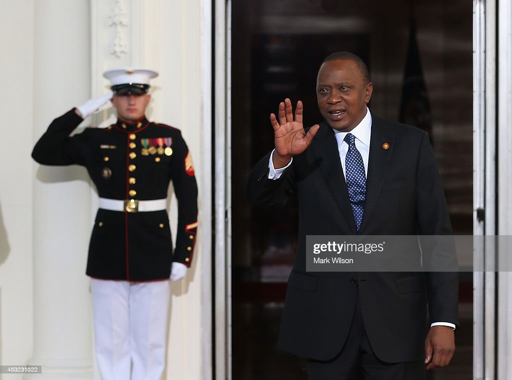 President of Kenya Uhuru Kenyatta arrives at the North Portico of the White House for a State Dinner on the occasion of the U.S. Africa Leaders Summit, August 5, 2014 in Washington, DC. African leaders are attending a three-day-long summit in Washington to strengthen ties between the United States and African nations.