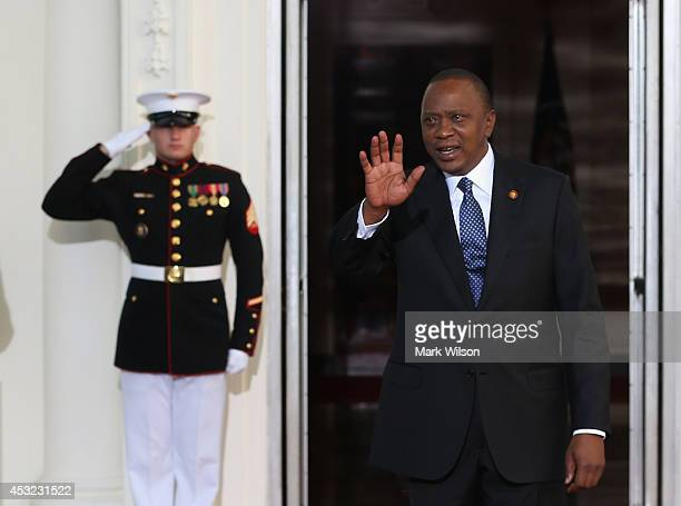 President of Kenya Uhuru Kenyatta arrives at the North Portico of the White House for a State Dinner on the occasion of the US Africa Leaders Summit...