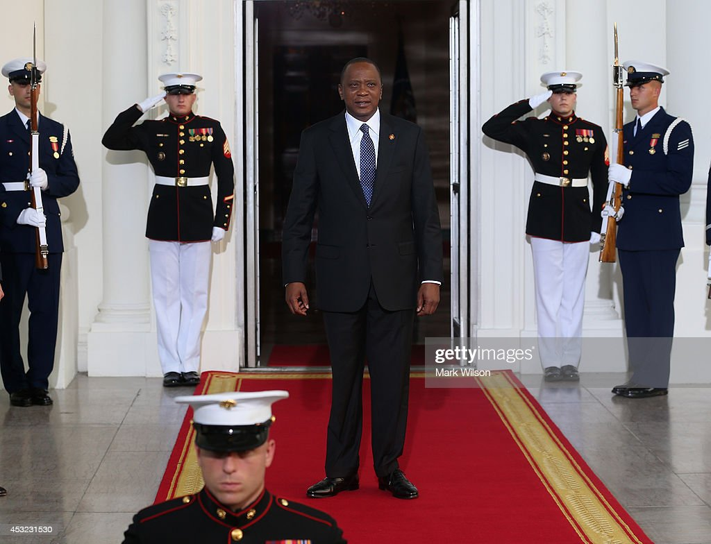 President of Kenya <a gi-track='captionPersonalityLinkClicked' href=/galleries/search?phrase=Uhuru+Kenyatta&family=editorial&specificpeople=2149190 ng-click='$event.stopPropagation()'>Uhuru Kenyatta</a> arrives at the North Portico of the White House for a State Dinner on the occasion of the U.S. Africa Leaders Summit, August 5, 2014 in Washington, DC. African leaders are attending a three-day-long summit in Washington to strengthen ties between the United States and African nations.