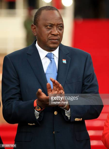 President of Kenya Uhuru Kenyatta looks on during the opening ceremony on day one of the IAAF U18 World Championships at the Kasarani Stadium on July...