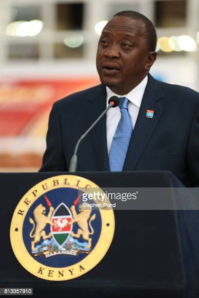 President of Kenya Uhuru Kenyatta speaks during the opening ceremony on day one of the IAAF U18 World Championships at the Kasarani Stadium on July...