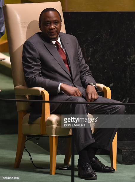 President of Kenya Uhuru Kenyatta waits to address the 69th session of the United Nations General Assembly September 24 2014 at the United Nations in...