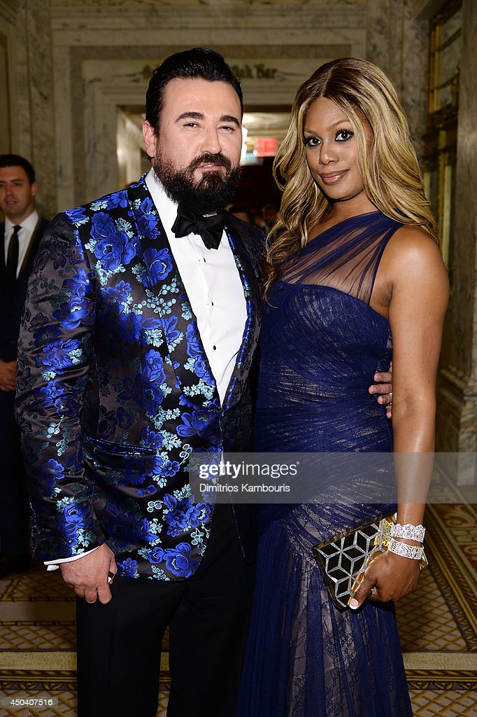President of Kiehl's USA Chris Salgardo and Laverne Cox (L) attends the amfAR Inspiration Gala New York 2014 at The Plaza Hotel on June 10, 2014 in New York City.