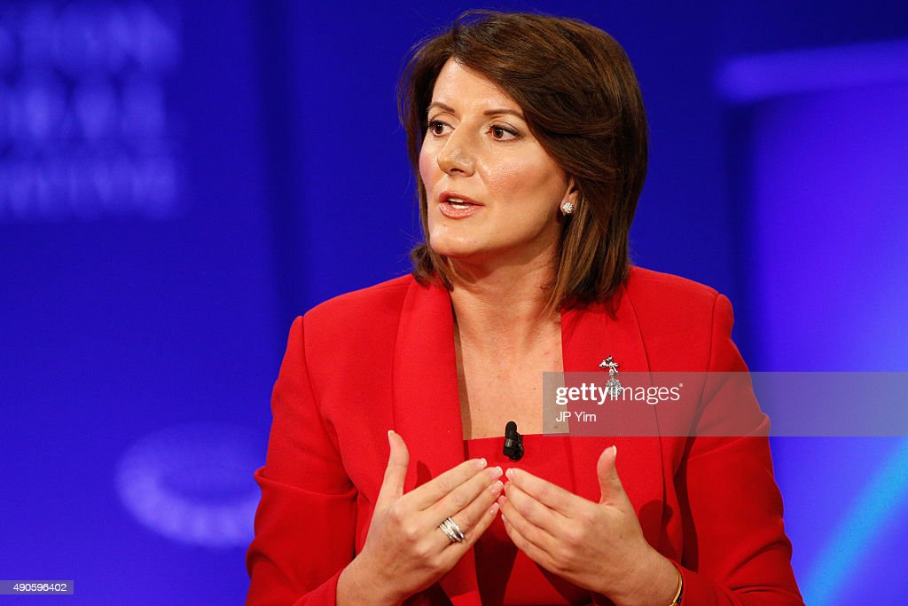 President of Kosovo, <a gi-track='captionPersonalityLinkClicked' href=/galleries/search?phrase=Atifete+Jahjaga&family=editorial&specificpeople=7799061 ng-click='$event.stopPropagation()'>Atifete Jahjaga</a> speaks onstage during the Clinton Global Initiative 2015 at the Sheraton New York Times Square Hotel on September 29, 2015 in New York City.