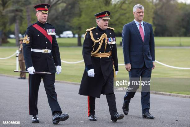 President of Kosovo Hashim Thaci arrives for the Sovereign's Parade at Royal Military Academy Sandhurst on April 13 2017 in Camberley England British...