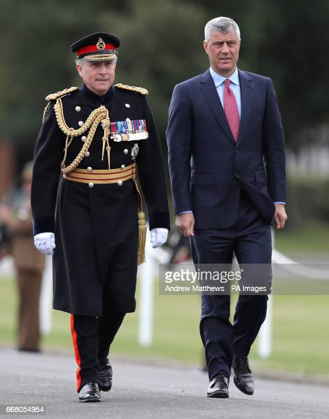 President of Kosovo Hashim Thaci arrives with Chief of the General Staff General Sir Nick Carter for the Sovereign's Parade at the Royal Military...