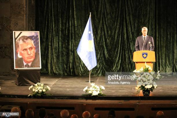 President of Kosovo Hashim Thaci delivers a speech during First Prime Minister of Kosovo Bajram Rexhepi's funeral ceremony in the charge of Prime...