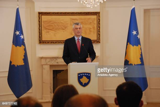 President of Kosovo Hashim Thaci holds a press conference on the process of Kosovo Security Force transformation into army in Pristina Kosovo on...