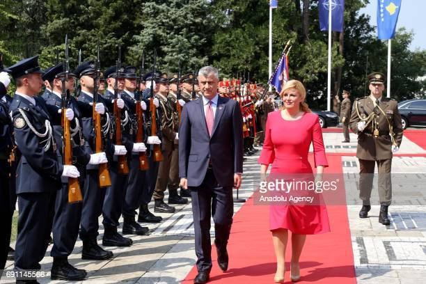 President of Kosovo Hashim Thaci is welcomed by Croatian President Kolinda Grabar Kitarovic with an official ceremony during his official visit in...