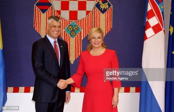 President of Kosovo Hashim Thaci meets with Croatian President Kolinda Grabar Kitarovic during his official visit in Zagreb Croatia on June 1 2017