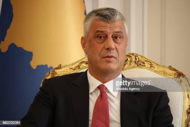 President of Kosovo Hashim Thaci meets with President of Albania Ilir Meta in Pristina Kosovo on October 11 2017