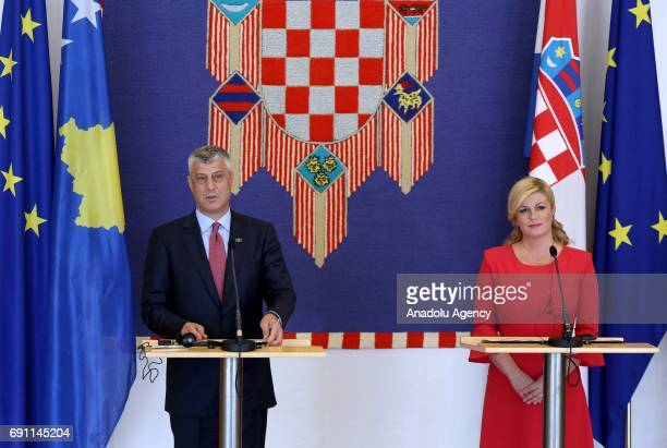 President of Kosovo Hashim Thaci speaks during a joint press conference with Croatian President Kolinda Grabar Kitarovic following their meeting in...
