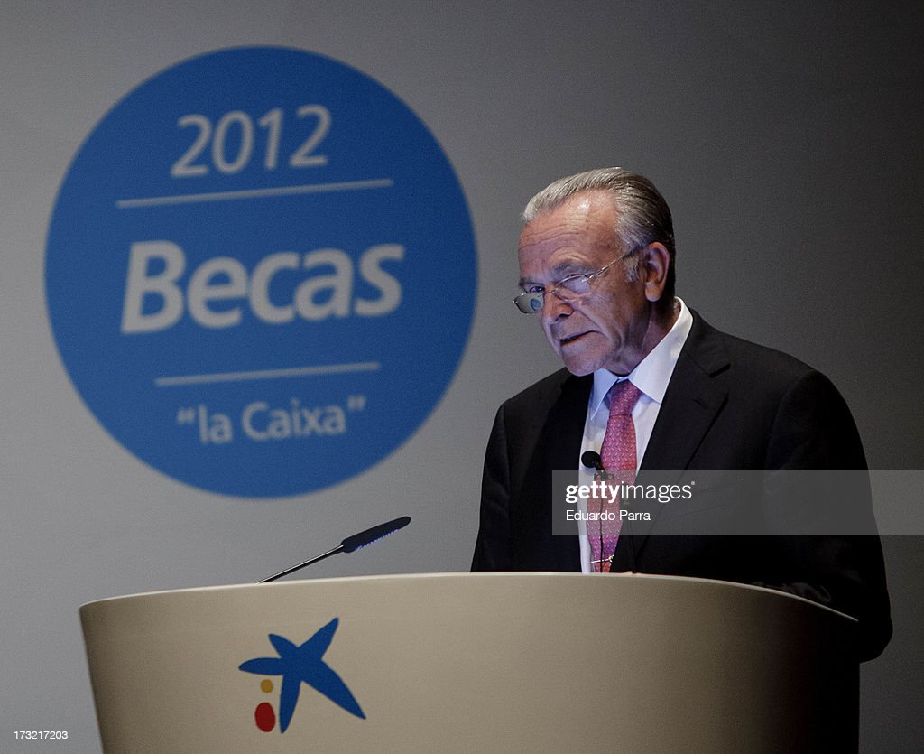 President of La Caixa Isidro Faine attends delivery of La Caixa scholarships at Caixaforum on July 10, 2013 in Madrid, Spain.