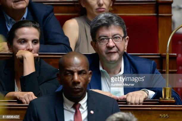 President of La France Insoumise Jean Luc Melenchon reacts as Ministers answer deputies during the weekly questions to the government at Assemblee...