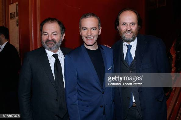 President of Lagardere Active and President of 'Europe 1' Denis Olivennes Franck Ferrand and Coowner of the Theater JeanMarc Dumontet pose after...