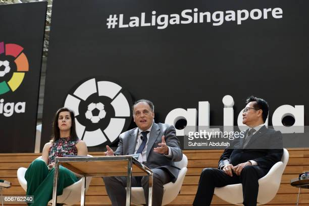 President of LaLiga Javier Tebas speaks as LaLiga ambassador Carolina Marin and Provisional Council President of Football Association of Singapore...