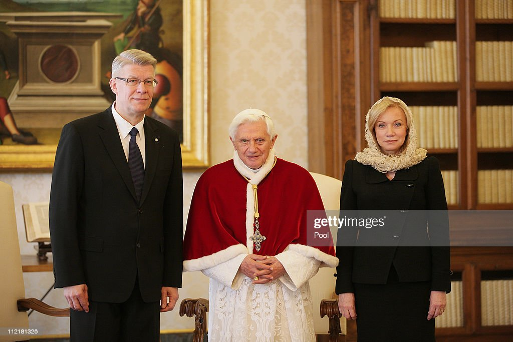 President of Latvia Valdis Zatlers and his wife Lilita Zatlere meet with Pope Benedict XVI at his private library on April 14, 2011 in Vatican City, Vatican.