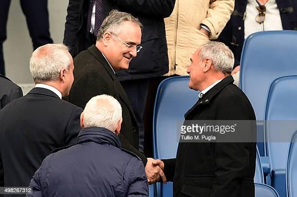 President of Lazio Claudio Lotito and President of Italian Senate Pietro Grasso shake hands during the Serie A match between SS Lazio and US Citta di...