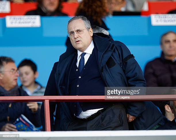 President of Lazio Claudio Lotito looks on during the Serie A match between Calcio Catania and SS Lazio at Stadio Angelo Massimino on February 16...