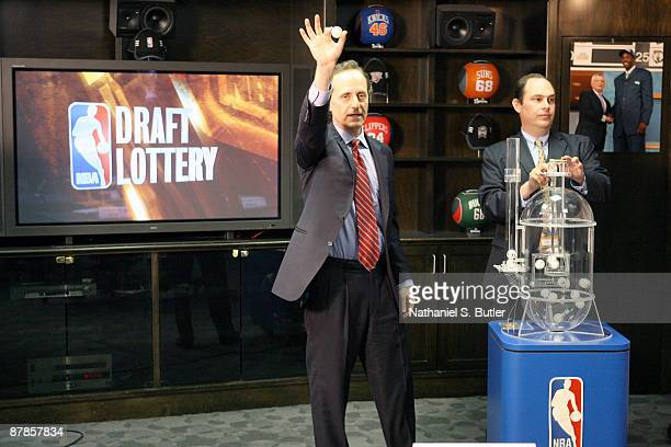President of League and Basketball Operations of the NBA Joel Litvin holds a lotto ball during the 2009 NBA Draft Lottery at the Studios at NBA...